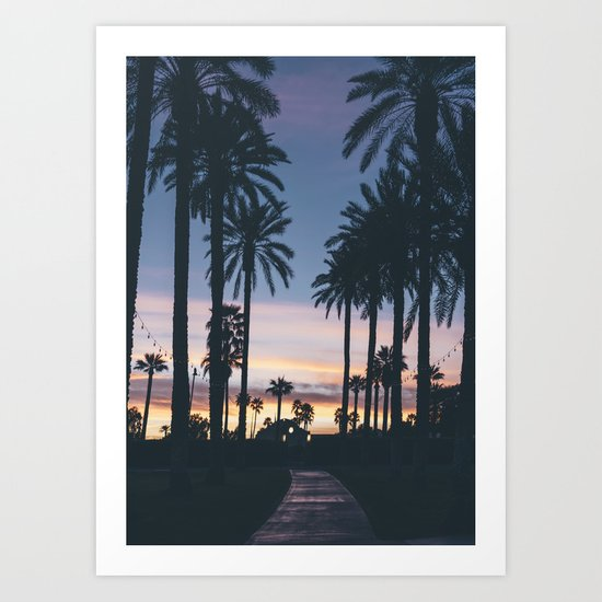 Sunset in the City (Hawaii Tropical Palm Trees) Art Print