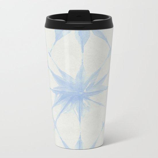 Shibori Starburst Sky Blue on Lunar Gray Metal Travel Mug