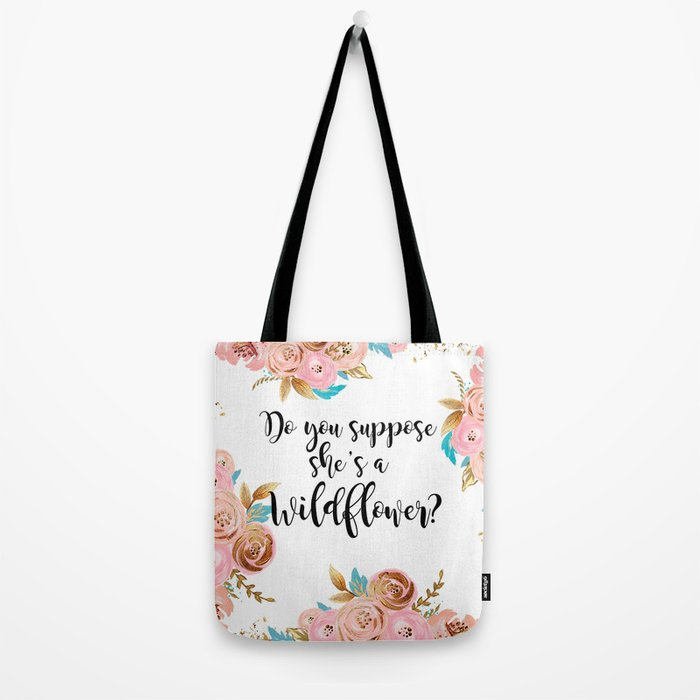 Blush and gold wildflower Tote Bag