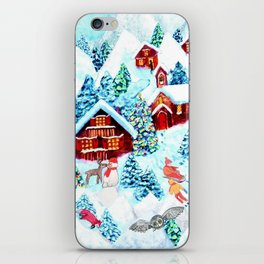 Alpine Chalets with reindeer, owls and snow (watercolor) iPhone Skin