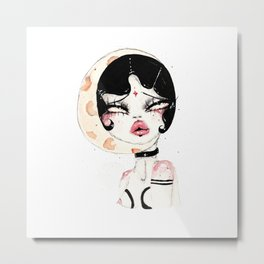 Lady Moon Metal Print