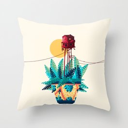 Potted house with plants Throw Pillow