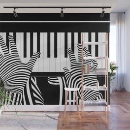 B&W Pianist Wall Mural