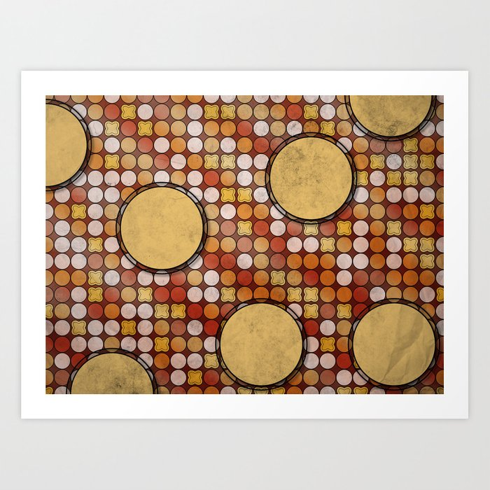 Retro Inspired Circle Pattern Design Poster Art Print