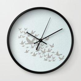 blue grey birds flying... nursery minimalistic nature print... Wall Clock