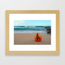 Coconut on the Beach Framed Art Print