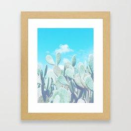 blue cactus Framed Art Print