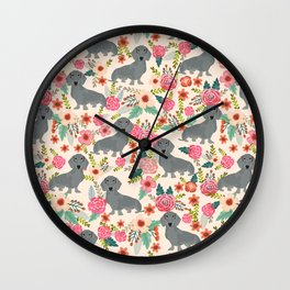 Dachshund florals grey doxie dachsie pattern with flowers cute gifts for wiener dog owners Wall Clock