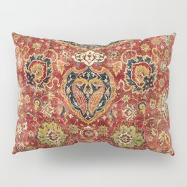 Indian Boho II // 16th Century Distressed Red Green Blue Flowery Colorful Ornate Rug Pattern Pillow Sham