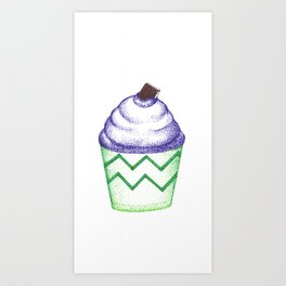 blue cupcake (pointillism) Art Print
