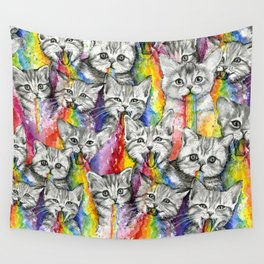 Kittens Puking Rainbows Pattern Wall Tapestry