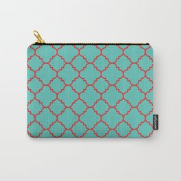 Quatrefoil - Turquoise & Red Carry-All Pouch