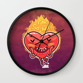 Cute Burning Heart for Valentine's Day Wall Clock