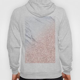 She Sparkles Rose Gold Pink Marble Luxe Geometric Hoody