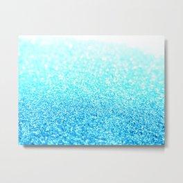 Turquoise Glitter Metal Print