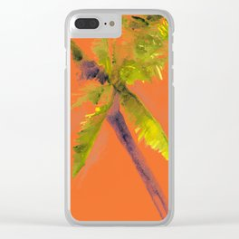 Island Palm Tree Orange Clear iPhone Case