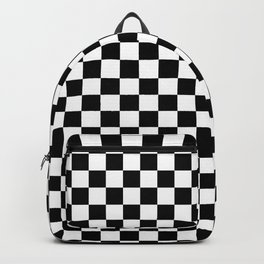 White and Black Checkerboard Backpack