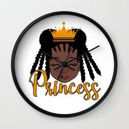 African American Black Baby Girl Princess Wall Clock