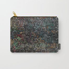 Burned Color  Paisley Pattern on  Wood Carry-All Pouch