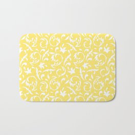 Figurative Pattern in Yellow and White Bath Mat