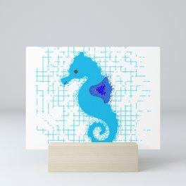 Blue Seahorse On Distressed Background Mini Art Print