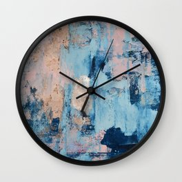 Sunbeam: a pretty abstract painting in pink, blue, and gold by Alyssa Hamilton Art Wall Clock