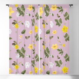 Yellow Flowers & White Roses 4 Blackout Curtain