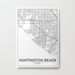Minimal City Maps - Map Of Huntington Beach, California, United States Metal Print