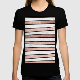 Modern faux rose gold glitter foil marble stripes pattern T-shirt