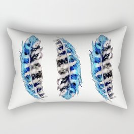 Three Feathers Watercolor Rectangular Pillow