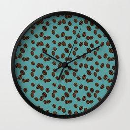 Coffee Beans - Teal Wall Clock