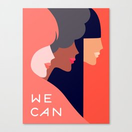 Together, we can  #girlpower Canvas Print