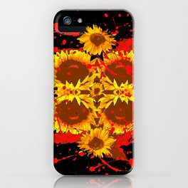 """""""SUNFLOWERS HAVING BLOODY GOOD TIME"""" iPhone Case"""