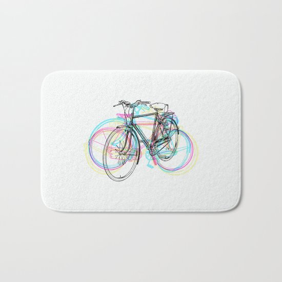 Artistic modern pink teal abstract bicycles art Bath Mat