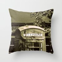 telephone Throw Pillows featuring Telephone by Irène Sneddon