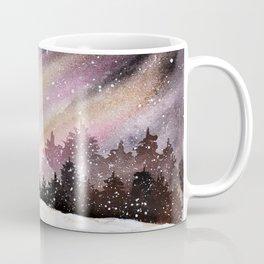 Magical Pink Christmas Tree in Snowy Woods Watercolor Coffee Mug