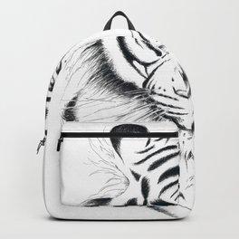 White Bengal tiger Blue Eyes Ink Art Backpack