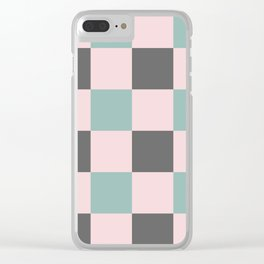 Contemporary Mint Pink Gray Gingham Pattern - Mix and Match Clear iPhone Case