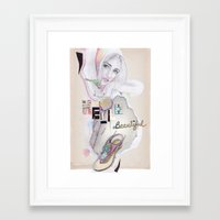 hello beautiful Framed Art Prints featuring Hello, beautiful! by Olivia Tse (OliviaOliveTea)