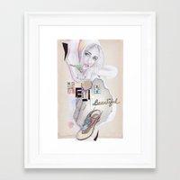 hello beautiful Framed Art Prints featuring Hello, beautiful! by Olivia Tse (OliviaOliveTea)