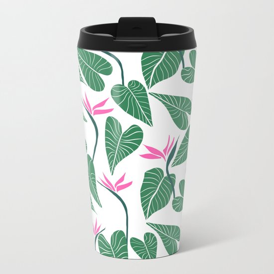 Tropical Forest Pattern Metal Travel Mug