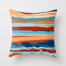 Southwest Abstract Painting 2 - Blue, Orange and Red Throw Pillow