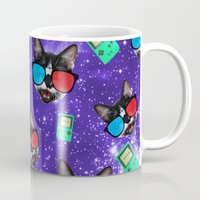 playstation Mugs featuring Nerdy Cat by Oh Monday