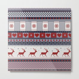Scandinavian Christmas Pattern Metal Print