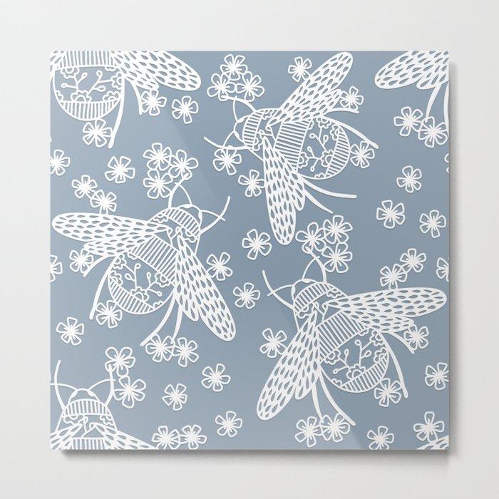 Papercut Bees Metal Print