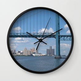 Detroit River Crossing Wall Clock