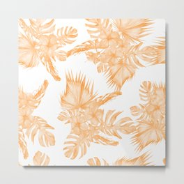Island Vacation Hibiscus Palm Coral Orange Metal Print