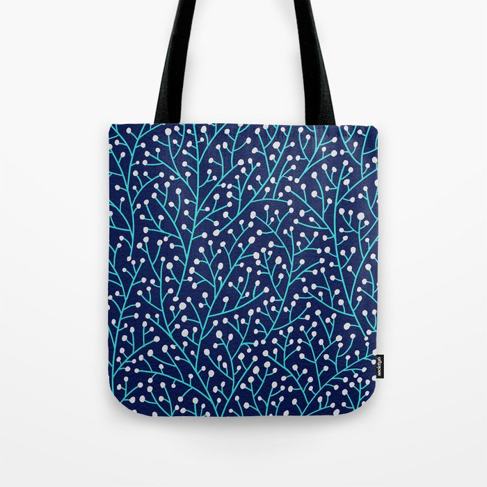 Berry Branches - Turquoise on Navy Tote Bag