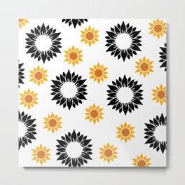 Summer sunflower yellow, black and orange pattern. Metal Print