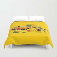kill bill Duvet Covers featuring Kill Fruit by Calvin Wu